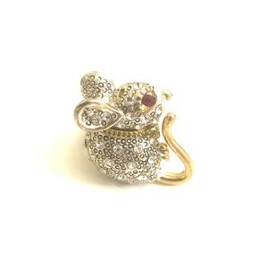 Betsy Johnson Rhinestone Mouse Ring